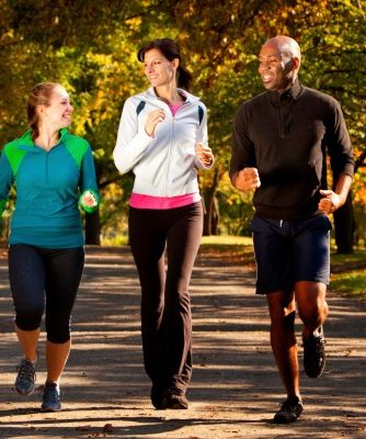 Three people go for an afternoon jog