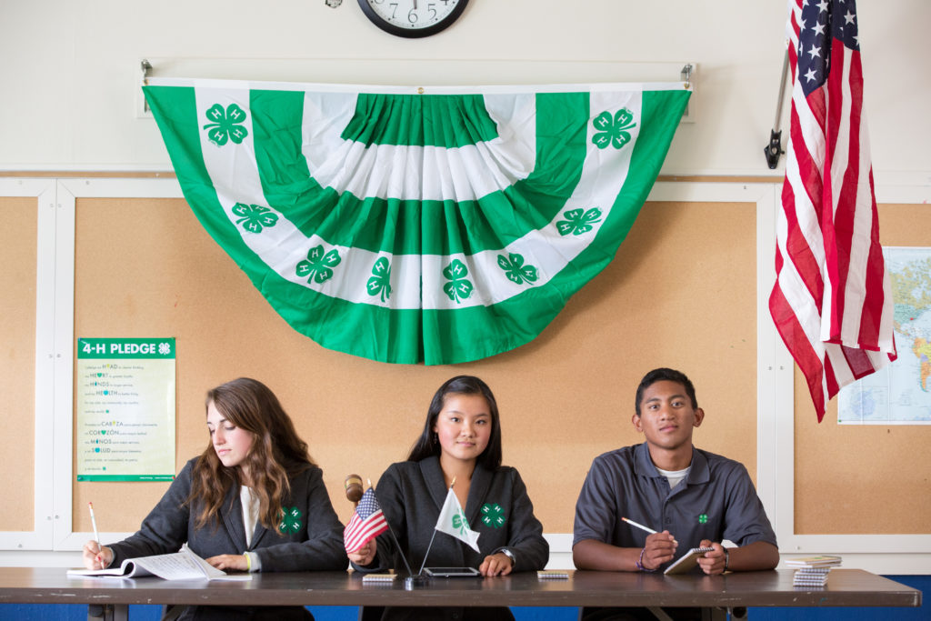 Youth sitting at a table with 4-H Flag